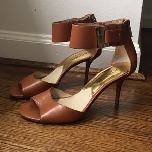 Michael Kors Leather Heels with Gold Accents